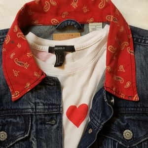 Levi's red bandana collar trimmed denim jac